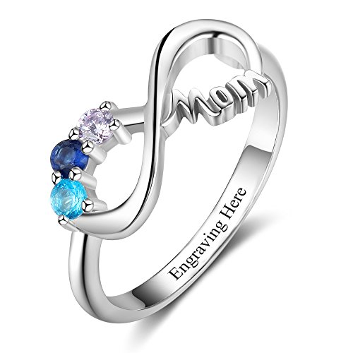 Lam Hub Fong Personalized 3 Simulated Birthstones Rings Infinity Knot Rings Mothers Rings