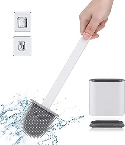 Ayxnzjsjm Escobilla WC Cepillo y Soporte para Inodoro de Silicona, Juego de Portaescobillas para Inodoro para baño Rejilla de Secado Rápido Escobilla de Baño Suave para Baño de Pared/Vertical, Blanca