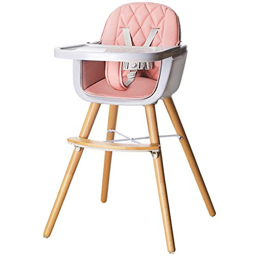 Opvouwbare kinderstoel Hoge kinderstoel Baby Kinderstoelen Beuken PE PP lade Multifunctionele Riem Pulley Verwijderbaar 1 tot 3 Jaar Leeftijd Been Assembly 55X55X83.5cm roze