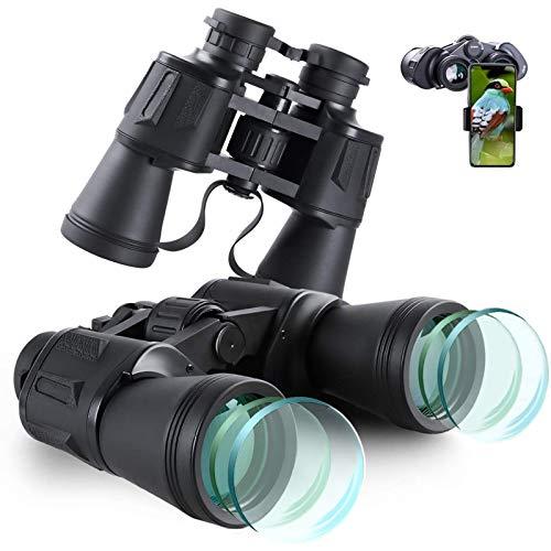 20X50 Ad Alta Potenza Militare Binocoli, Binocolo Professionale, Binocolo Visione Notturna Bassa per Osservazione Uccelli, Escursioni, Concerti, con Copriobiettivo, Panno di Pulizia e Custodia
