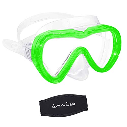 OMGear Snorkel Mask Scuba Diving Mask Junior Men Women Swimming Goggles with Nose Cover with Neoprene Mask Strap Paddle Anti-Fog Anti-Leak (Green)