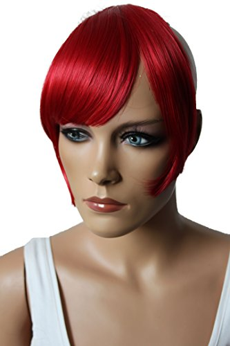 PRETTYSHOP Fringe Bangs Clip in Extension Hair Piece Heat-Resisting Synthetic Fiber intense red #3100 F11-2