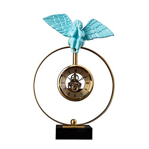bdb Base Antideslizante Reloj De Mesa Regalo del Dormitorio De La Decoración De La Oficina De La Sala De Estar Ángel Reloj De Chimenea (Color : Azul)