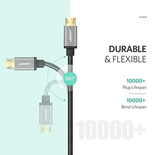 UGREEN Cavo Micro USB Ricarica Rapida 2.4A, Cavo USB in Nylon Supporta QC 3.0 2.0, FCP Compatibile con Samsung A10, J6, Huawei P Smart P10 Lite, Honor 9 Lite, Xiaomi Redmi 6A, Redmi 7(2M Nero)