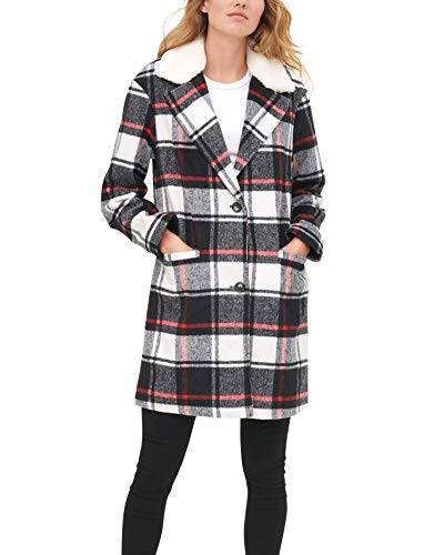Levi's Women's Wool Blend Sherpa Collar Top Coat, Black/White/Red Plaid, Large