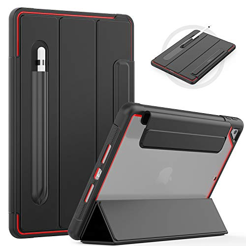 SEYMAC New iPad 7th Generation Case,iPad 10.2 Inch 2019 Magnetic Cover with Tri-fold Front, Automatic Wake/Sleep Sturdy Leather Case with Pencil Holder,Heavy Duty Case for iPad 7 Generation,Black/Red