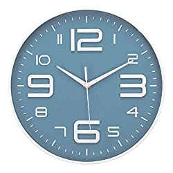 LONBUYS No Ticking Wall Clock Silent Accurate Quartz Sweep Movement Modern Clock Decor for Kitchen, Living Room, Bedroom, Office Black (Blue Gray)