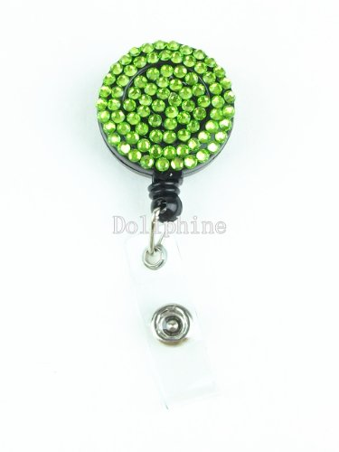 Multi - Colors Rhinestone Badge Reel Retractable ID Badge Holder (Lime Green)