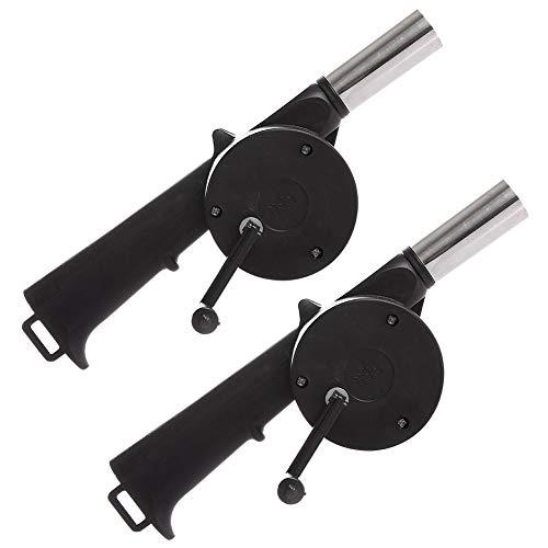 FHYT 2pcs Soffiatore Manuale, Soffiatore BBQ Manuale, Cottura Esterna BBQ Ventilatore per Camino Campeggio Barbecue con Cinturino