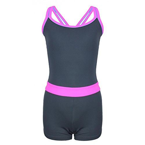 Aquarti Mädchen Badeanzug mit Bein Racerback, Farbe: Grau/Pink, Größe: 134