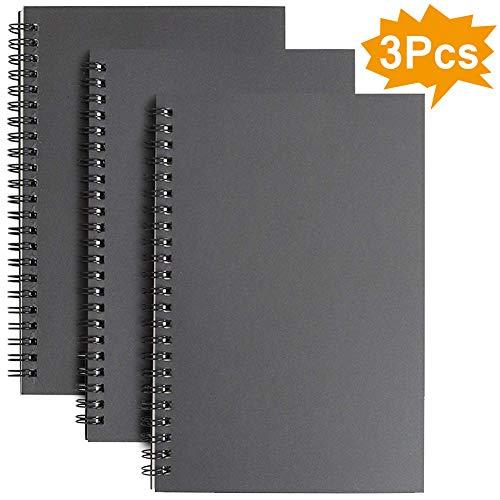 Spiral-Notizbuch, A5, liniert, 3er-Pack, weicher Einband, Kraftpapier, 100 Seiten / 50 Blatt, Notizblöcke, Planer, ideal für Reisen und Schule 3 Pack Black
