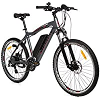 "Moma Bikes Bicicleta de Montaña E-MTB-26 "", Suspension simple, Alu. SHIMANO 24V, Doble Freno Disco, Susp Delan. Bat. Ion Litio 36V 16Ah"
