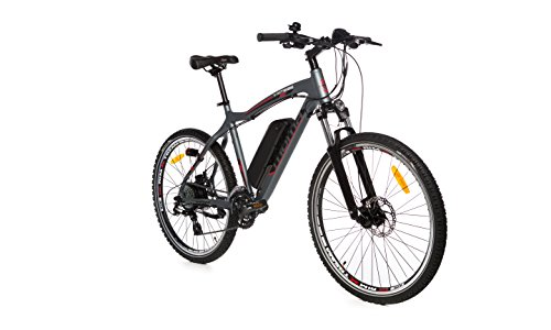 "Moma Bikes Bicicleta de Montaña E-MTB-26 "", Suspension simple, Alu. SHIMANO 24V, Doble Freno Disco, Susp Delan. Bat. Ion Litio 36V 16Ah"