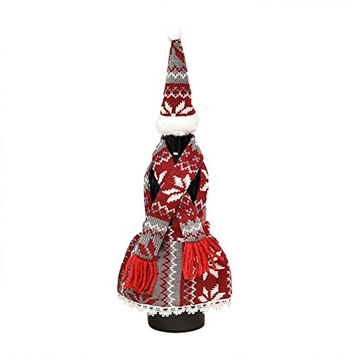 HathaWQ Christmas Wine Bottle Cover Decoraciones navideñas Delantal Modelos Traje Wine Bottle Cover Mesa Wine Bottle Dress Up Atrezzo