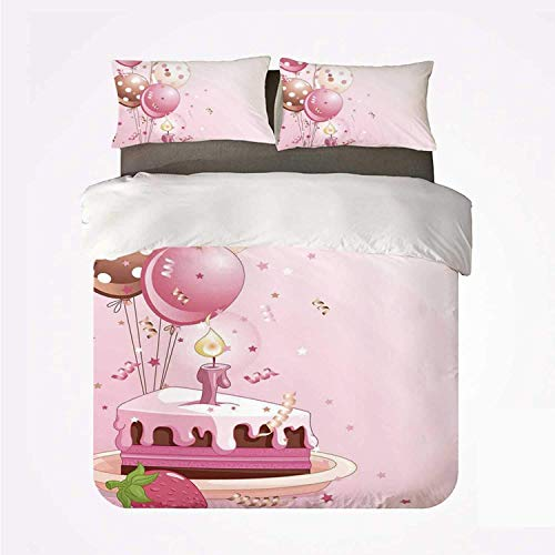 Duvet Cover Set Birthday Decorations Warm 3 Bedding Set,Strawberry Pink Slice of Cake Candle Dotted Balloons and Confetti for Room