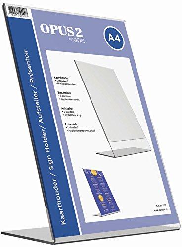 OPUS 2 350000 - Soporte de sobremesa, inclinado, acrilico Transparente, para A4 vertical