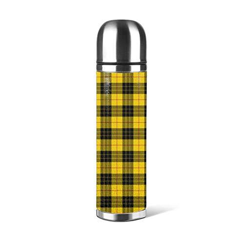 Taza de acero inoxidable con aislamiento térmico para botella de agua, taza de café, a prueba de fugas, color amarillo, rojo y negro, para oficina, viajes, al aire libre, 470 ml