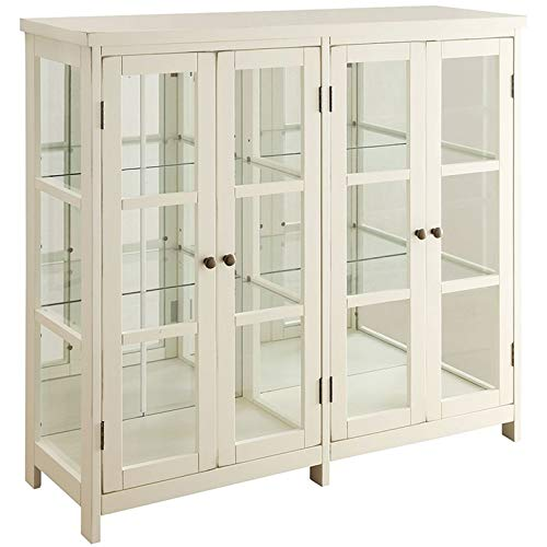 BOWERY HILL 4 Door Glass Display Curio China Accent Cabinet in Antique White