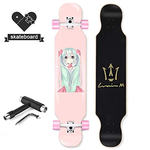 YW Longboards Skateboards 42 Inches Complete Skateboard Longboards Drop-Through Deck Crusier Boards, 8 Layer Canadian Maple Skate,for Girls Beginners, Hatsune Miku,C
