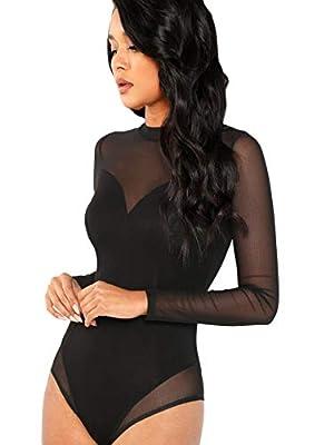 Floerns Women's Sheer Mesh Long Sleeve Stretchy Bodysuit Jumpsuit Black L