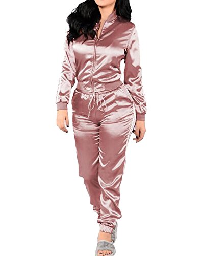 ZongSen Femme Costumes Casual Classique Fermeture à Glissière Sweats Tops + Pantalons Joggings Survêtements Pink L