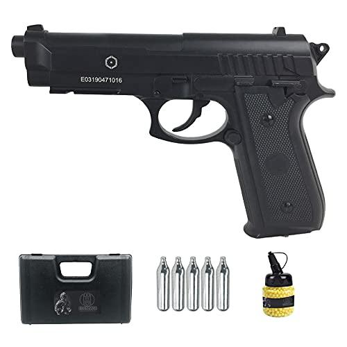 PT92 Negra Full Metal | Pistola de Airsoft (Bolas de 6MM) y CO2. Semiautomática. Tipo Taurus.