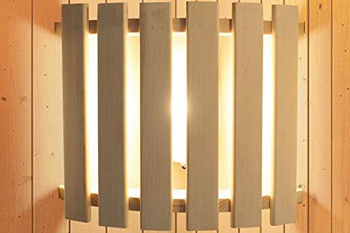 Karibu Saunaleuchte Modern Abmessungen: 28 x 34 x 7 cm Ausführung: für Starkstrom Material: Espenholz Farbe: naturbelassen Steuerung: über Sauna Steuerung oder ext. Schalter Silikonkabel: nicht im Lieferumfang enthalten (Zubehör) Leutmittel: ohne Leuchtmi