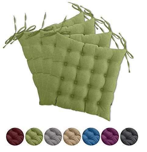 wometo 4er Set Sitzkissen Stuhl OekoTex 40x40 cm - grün grasgrün Sitzauflage Auflage Polster Stuhlkissen Sitzpolster mit Bändern