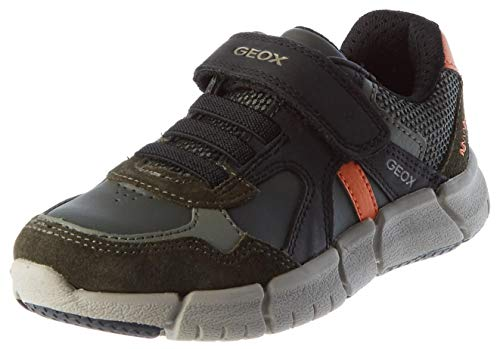 Geox J FLEXYPER Boy C Sneaker, (Military/Orange), 36 EU