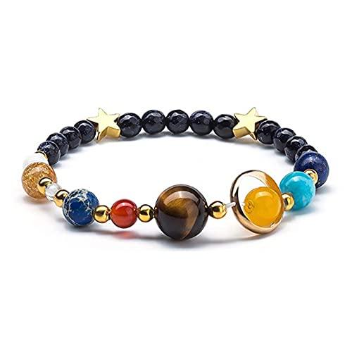 Houren Neue Universe Solaranlage Armband Frauen Naturstein acht Planeten Universum Galaxy Armband Männer Frauen Schmuck Geschenk Einfaches und Elegantes