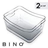 BINO Clear Plastic Storage Bin with Handles - Plastic Storage...