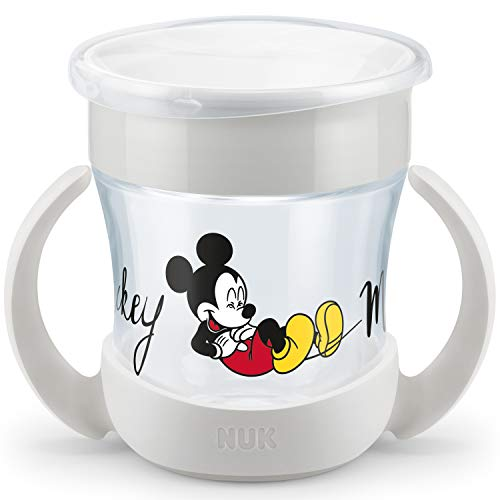 NUK Disney Mini Magic Cup - Vaso para aprender a beber | borde antigoteo 360° | asas prácticas | 160 ml | sin BPA | 6 meses | Mickey Mouse (gris)