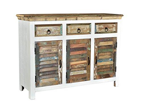 Woodkings® Sideboard Perth weiß, 3türig, recyceltes Massivholz antik, Anrichte Vintage, Design Kommode 3 Schubladen, Holzmöbel