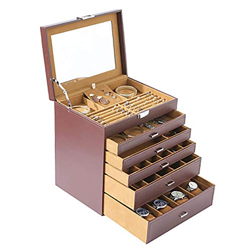 YUNLILI 6-Layer Jewelry Box Multifunctional Wooden Drawer Type Jewelry Storage Box Cosmetic Organizer for Necklaces,Watches, Earrings, Rings