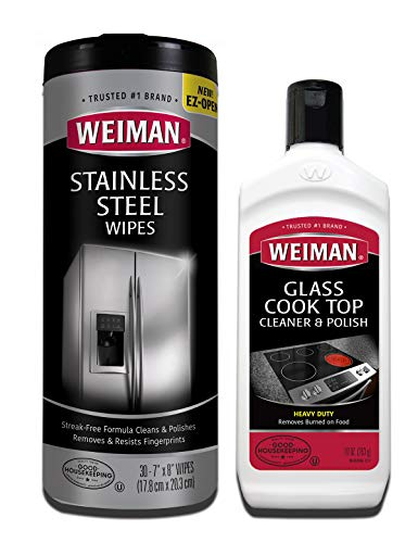Weiman Heavy Duty Cooktop Polish & Stainless Steel Wipes - Powerful Appliance Kitchen Cleaning Kit