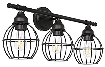 Hykolity 3-Light Industrial Bathroom Vanity Light, Led Edison Bulbs Included, Metal Wire Cage Wall Light Fixtures, Matte Black Vintage Wall Sconce, ETL Listed