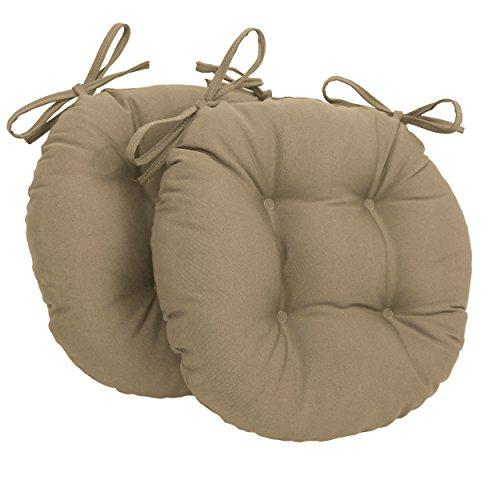 Lot de 2 coussins de chaise ronds tuftés en sergé massif Caramel 40,6 cm