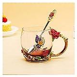 Calici da acqua Tazza di tazza di tè di cristallo di cristallo della rosa della rosa blu rossa della tazza di caffè della farfalla delle tazze di acqua del fiore del fiore trasparente con il cucchiaio