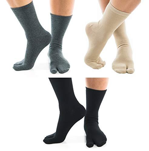 Tabi Flip Flop Toe Socks V-Toe Black, Khaki & Gunmetal Gray Crew Big Toe Casual - 3 Pair Combo