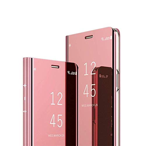 Hnzxy Kompatibel mit Huawei Y6 2019 Hülle Handytasche,Handyhülle für Huawei Y6 2019 Überzug Spiegel Hülle Clear View Flip Case Wallet Magnet Schutzhülle Lederhülle Etui,Rose Gold