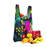 Mark Stars Colorful Paint Splatter Wallpaper Fold Eco-Friendly Shopping Bags Large Capacity Daily Necessity