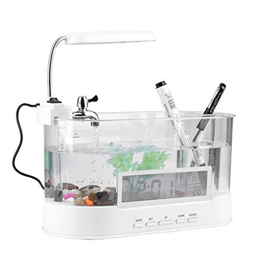Mini-aquarium, multifonctionnel décoration de bureau rechargeable Mini Aquarium Support de table de bureau de poisson en verre avec fonction d'horloge,Blanc