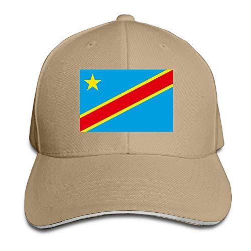AOHOT Classic Hombre Mujer Gorras de béisbol,Men Women Flag of The Congo Democratic Republic Fashion Peaked Sandwich Hat Sports Adjustable Baseball Cap Unisex