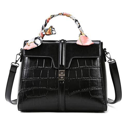 YTQ - Borsa a tracolla da donna, in pelle PU, con decorazione alla moda, colore: nero