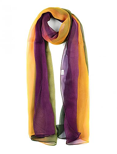 uxcell Long Chiffon Lightweight Scarf Gradient Color Scarf Spring Summer For Women Green/Yellow/Purple 63'x19.6'