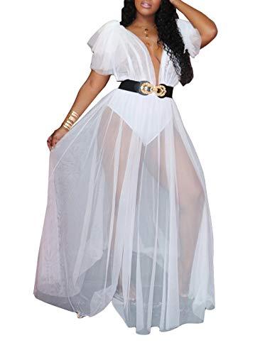 Ophestin Women Short Sleeve Ruffle See Through Ruched V Neck Tunic Bodysuits with Mesh Sheer Flowy Long Maxi Dress White XXL