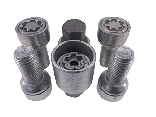 Felgenschloss Radsicherung Radschrauben 4 Stk. + 2 Schlüssel M14x1,5 Kugelbund R14 silber 27 mm