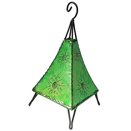 Orientalische Lampe Stehlampe marokkanische Hennalampe Lederlampe Tischleuchte Stehleuchte Orient Pyramide Sonne 40 cm Color Grün