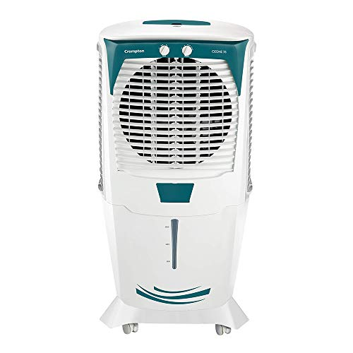 Crompton Ozone 75-Litres Desert Air Cooler with Honeycomb Pads White/Turquoise