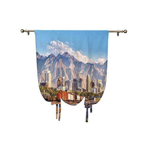 Albert Lindsay Backdrop Landscape Small Window Curtain,Downtown Salt Lake City Skyline in Utah USA Railroads Mountains Buildings Urban Window Blackout Shade,45x63 Inch,for Home Windows Multicolor